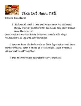 Adding and Subtracting Decimals using Restaurant Menus
