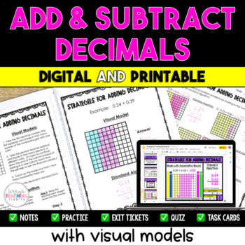 Adding and Subtracting Decimals with Visual Models - 5th Grade **5.NBT.7**