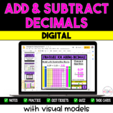 Adding and Subtracting Decimals with Visual Models {Digital} - Distance Learning