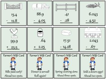 Adding and Subtracting Decimals Board Game - Farm Theme