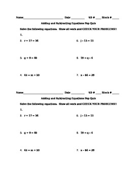 Adding and Subtracting Equations Pop Quiz