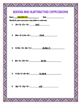 Adding and Subtracting Expressions