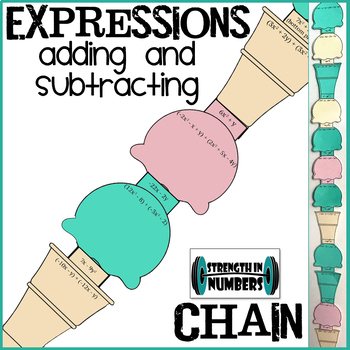 Adding and Subtracting Expressions Ice Cream Paper Chain for Display
