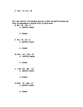 Adding and Subtracting Expressions Quiz