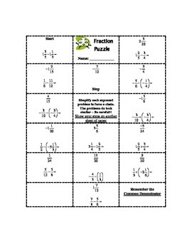 Adding and Subtracting Fraction Practice