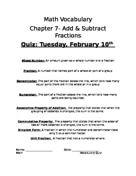 Adding and Subtracting Fraction Quiz