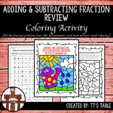 Adding and Subtracting Fraction Review Coloring Activity
