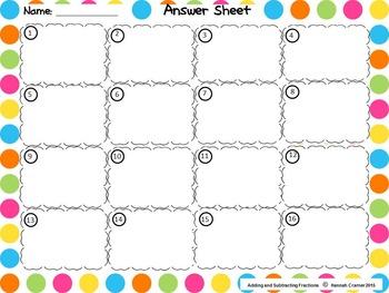 Adding and Subtracting Fraction Task Card Sampler