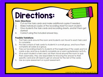 Adding and Subtracting Fractions Task Cards