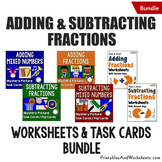 Review Adding & Subtracting Fractions Worksheets, Puzzles Mystery Picture Bundle