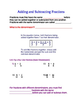 Adding and Subtracting Fractions 1