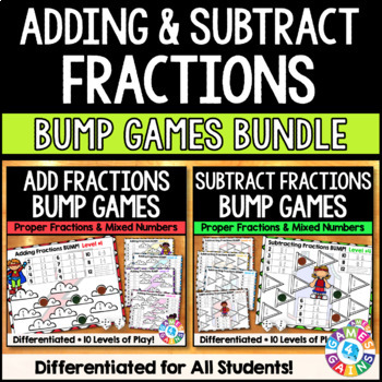 Adding and subtracting fractions test teaching resources teachers adding and subtracting fractions and mixed numbers games bundle 4b3 fandeluxe Gallery