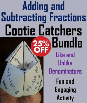 Adding and Subtracting Fractions Game/ Practice for 4th, 5th, 6th, 7th Grade