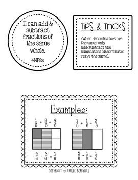 Adding and Subtracting Fractions Journal & Exit Tickets - 4NF3a