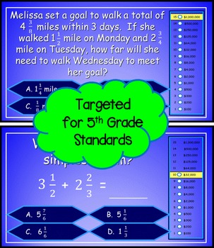 Adding and Subtracting Fractions 5th Grade Power Point Millionaire Game