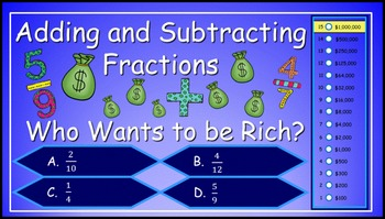 Adding and Subtracting Fractions 5th Grade Power Point Mil