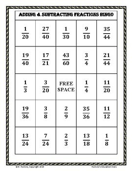 Adding and Subtracting Fractions Bingo (30 pre-made cards!)