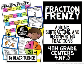 Adding and Subtracting Fractions Board Game: 4th Grade Math Centers 4.NF.3