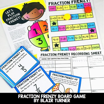 Adding and Subtracting Fractions Board Game: 4th Grade Mat
