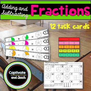 Adding and Subtracting Fractions Center Task Cards with Models