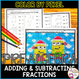 Adding and Subtracting Fractions Christmas Math Color by Pixel