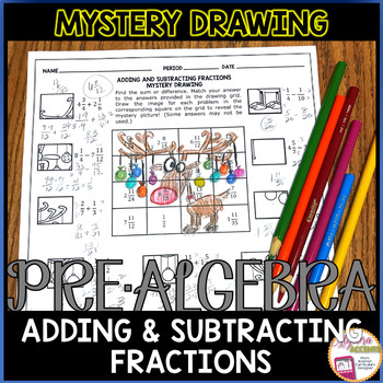 Adding and Subtracting Fractions Christmas Math Mystery Drawing