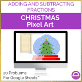 Adding and Subtracting Fractions Christmas Pixel Art Activ