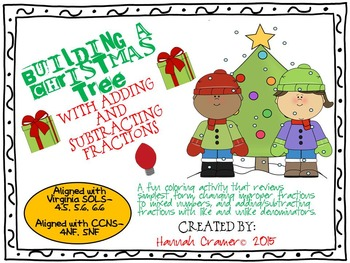 Adding and Subtracting Fractions Christmas Tree