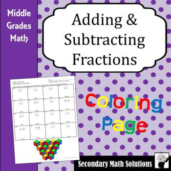 Adding and Subtracting Fractions Coloring Activity