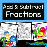 Adding and Subtracting Fractions Coloring Book Math