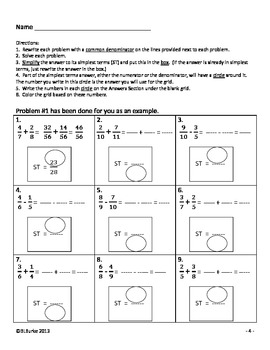 Differentiated CCSS Adding/Subtracting Fractions Word Problems Picture - Frog