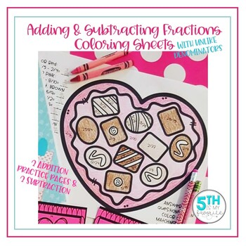 Adding and Subtracting Fractions Coloring Sheets