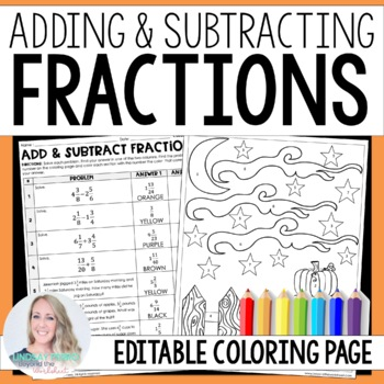 Add and Subtract Fractions Coloring Worksheet