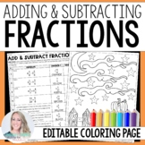 Add and Subtract Fractions Coloring Worksheet - Fall & Halloween Themed