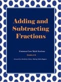 Adding and Subtracting Fractions Common Core Math Stations