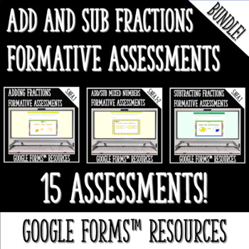 Adding and Subtracting Fractions DIGITAL TASK CARDS BUNDLE for Google Classroom