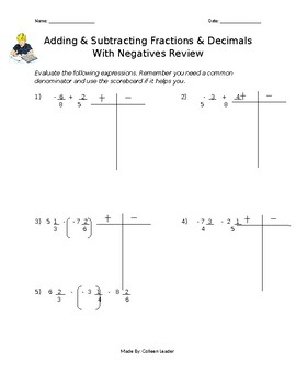 Adding and Subtracting Fractions & Decimals Review