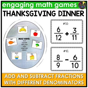 Adding and Subtracting Fractions Different Denominators Thanksgiving Game