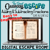 Adding and Subtracting Fractions Digital Escape Room Fifth Grade Math Activity