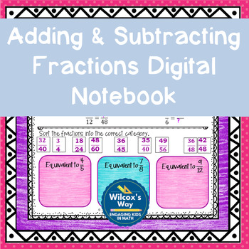 Adding and Subtracting Fractions Digital Notebook