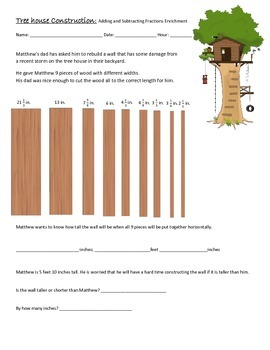 Adding and Subtracting Fractions Enrichment- Tree House Co