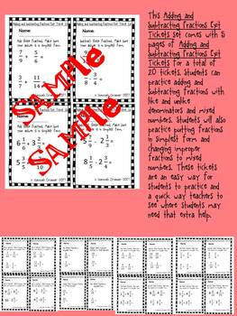 Adding and Subtracting Fractions Exit Tickets