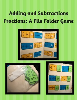 Adding and Subtracting Fractions File Folder Game