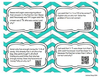 """Adding and Subtracting Fractions 'Find the Error"""" QR Task Cards"""