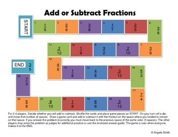 photo regarding Adding and Subtracting Fractions Game Printable identify Introducing and Subtracting Fractions Match Board - 5th Quality Well known Main Math