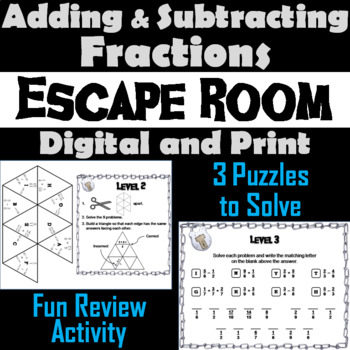 Adding and Subtracting Fractions Escape Room Math Activity
