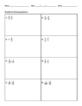 Adding and Subtracting Fractions - H&I Practice Sheets Mini