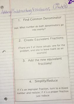Adding and Subtracting Fractions Interactive Notebook Foldable