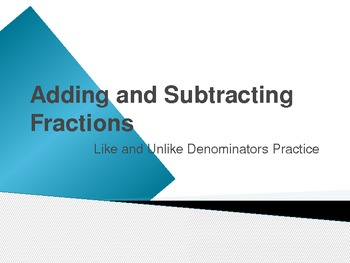 Adding and Subtracting Fractions Interactive PwrPt