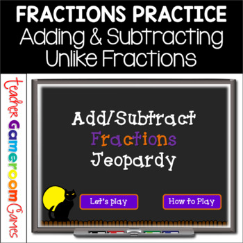 Adding and Subtracting Fractions Jeopardy-Like Powerpoint Game Halloween Theme